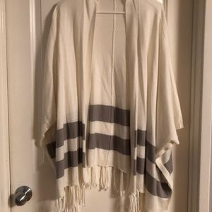 Sweaters - Cream and Grey Fringe Sweater-Cardigan
